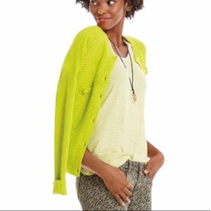 CABI Chartreuse Fitted Cardigan Sweater M